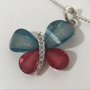 Butterfly Glittery Necklace Blue Pink Silver Tone